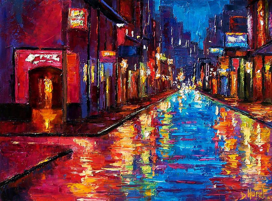 Rainy Cityscape Painting - New Orleans Magic by Debra Hurd