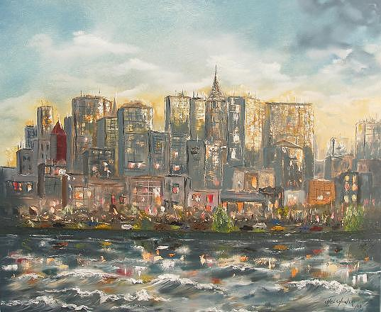 Landscape Painting - New York City by Miroslaw Chelchowski