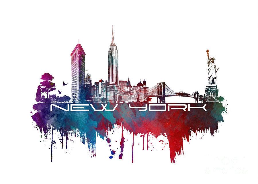 New York Digital Art - New York city skyline blue by Justyna Jaszke JBJart