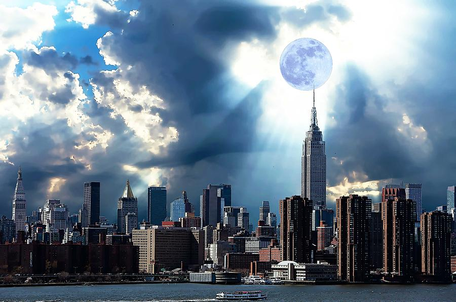 Nature Painting - New York Skyline by Celestial Images