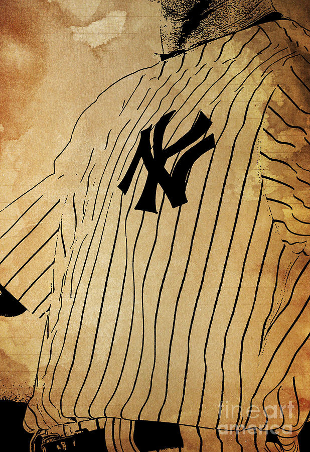 Yankees Painting - New York Yankees Baseball Team Vintage Card by Drawspots Illustrations