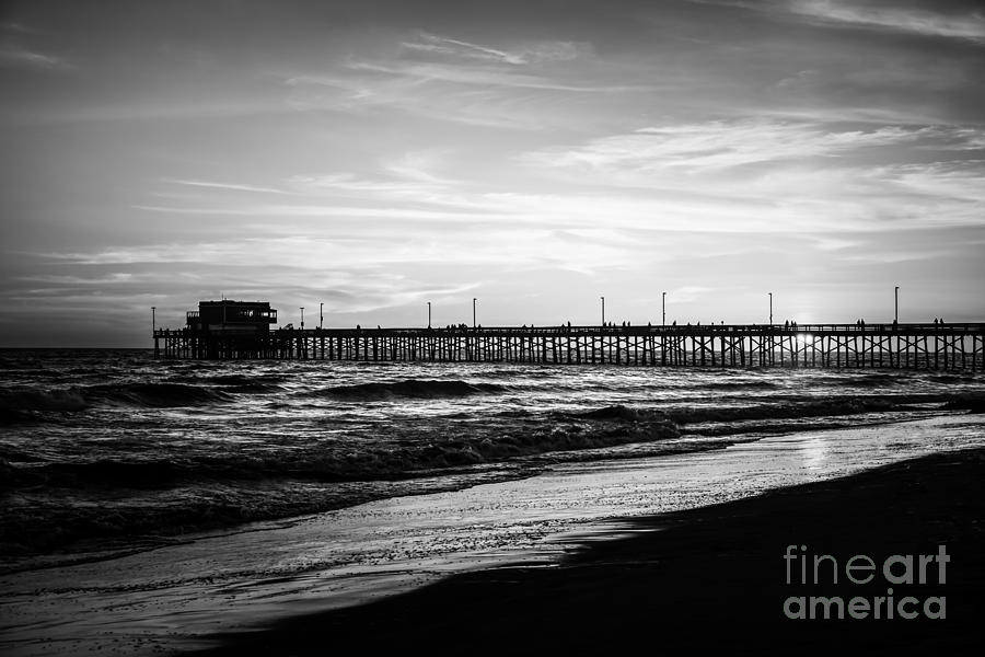 Newport Beach Pier Black And White Picture Photograph