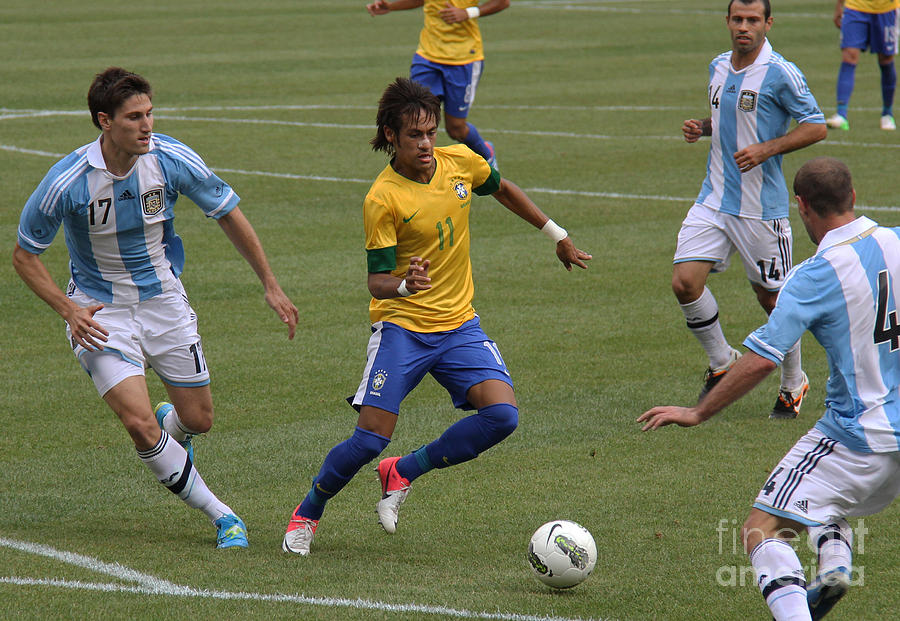 Action Photograph - Neymar Doing His Thing II by Lee Dos Santos
