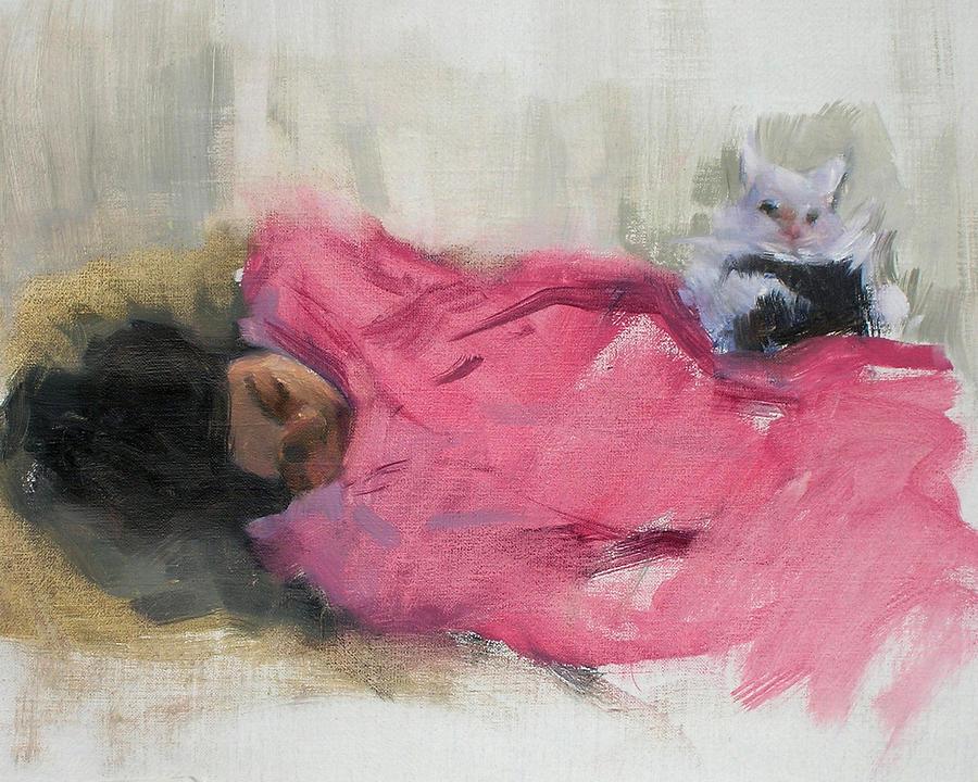 Cat Painting - Nicole And Josie by Merle Keller