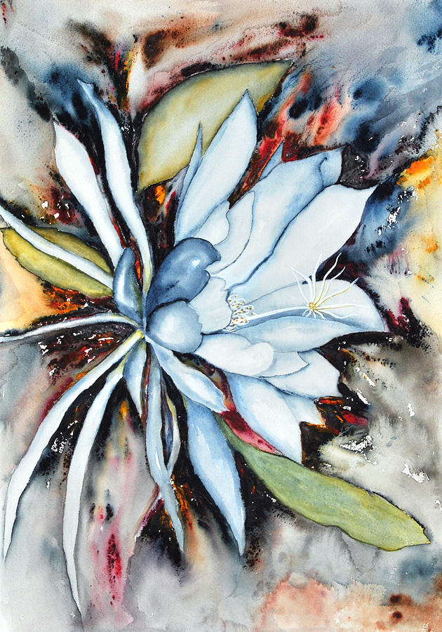 Watercolor Painting - Night Bloomer 2 by Vallee Johnson