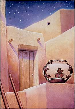 Southwest Pastel - Night Pueblo by Jo Thompson