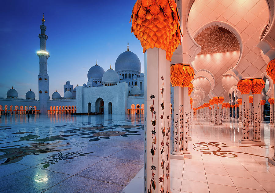Islam Photograph - Night View At Sheikh Zayed Grand Mosque, Abu Dhabi, United Arab Emirates by Marek Kijevsky