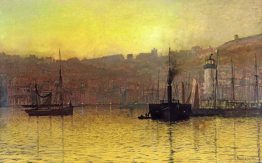 Night Painting - Nightfall In Scarborough Harbour by John Atkinson Grimshaw