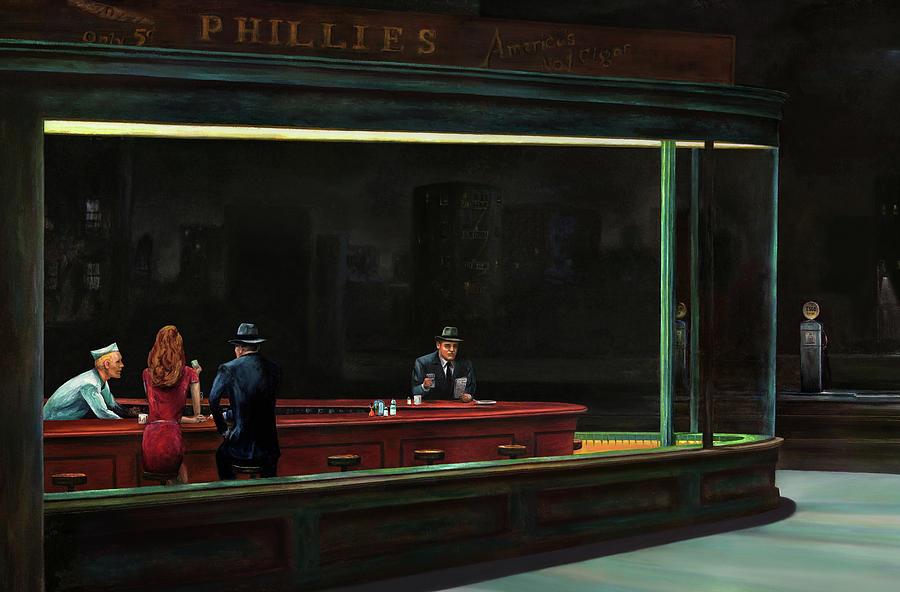 Nighthawks Painting Painting - Nighthawks by Antonio Ortiz