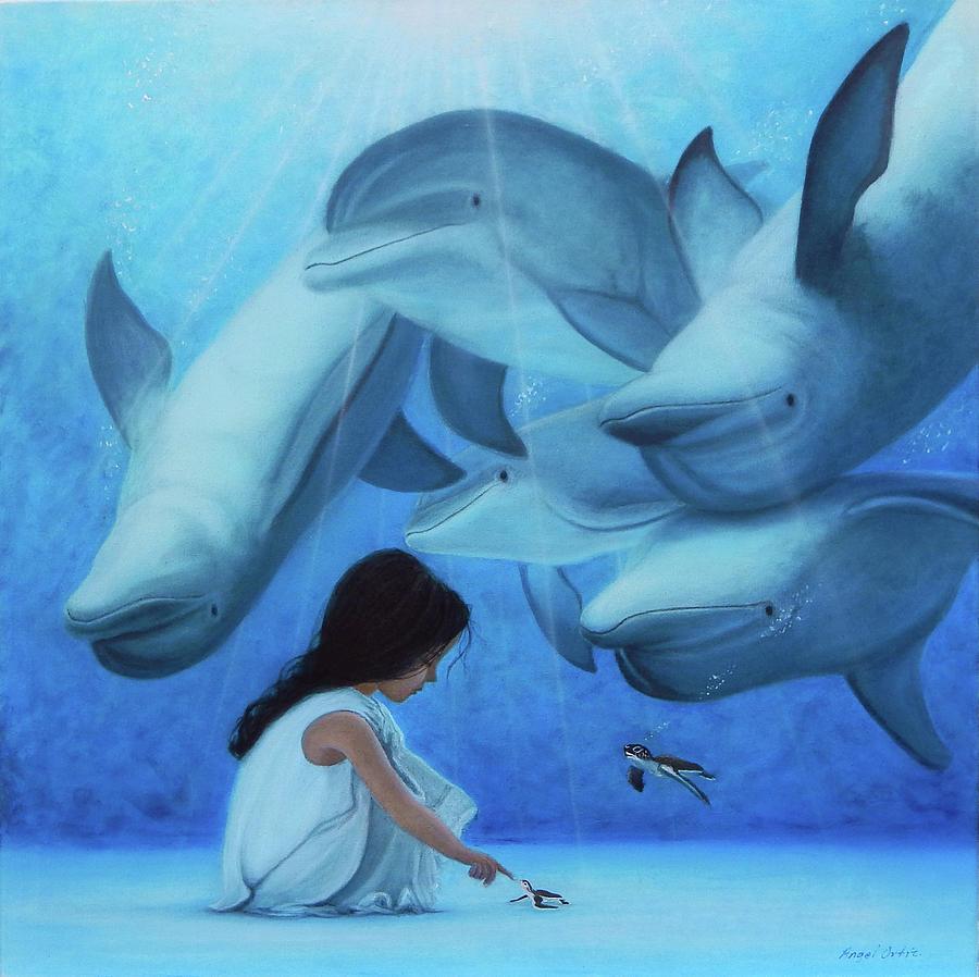 Seascape Painting - Ninia Del Mar by Angel Ortiz