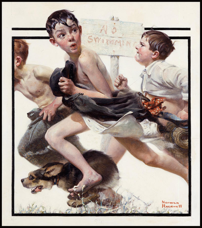 No Swimming Painting - No Swimming by Norman Rockwell