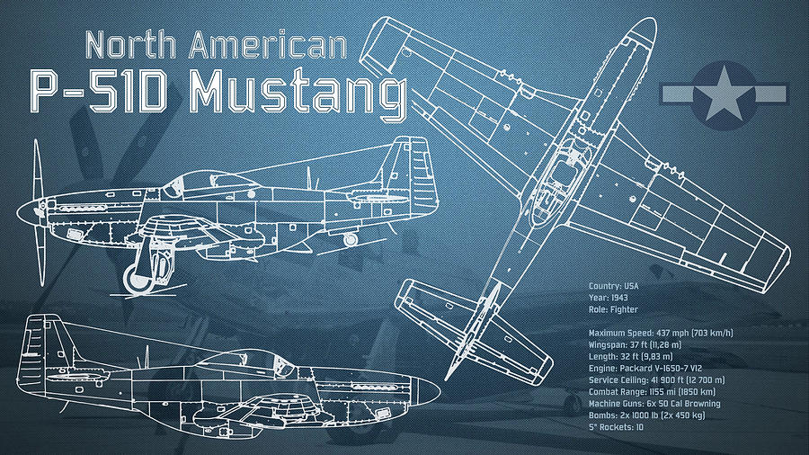 North american p 51d mustang blueprint digital art by jose elias p 51d digital art north american p 51d mustang blueprint by jose elias malvernweather Image collections