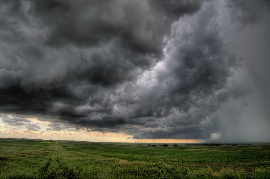 Thunderstorm Photograph - North Dakota Thunderstorm by Dave Rennie