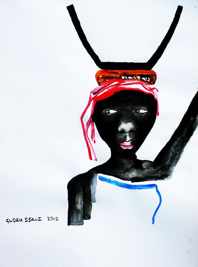Jesus Painting - Nuer Lady - South Sudan by Gloria Ssali