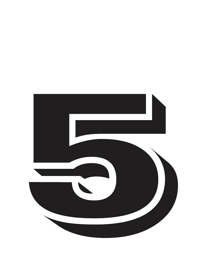Number Five Minimalist Print Mixed Media