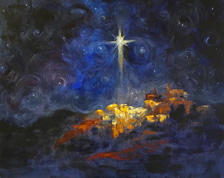 Bethlehem Painting - O Little Town of Bethlehem by Carol Sheli Cantrell