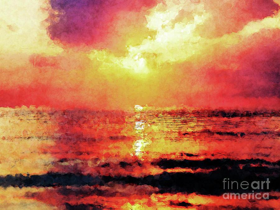 Ocean Digital Art - Ocean Sunrise by Phil Perkins