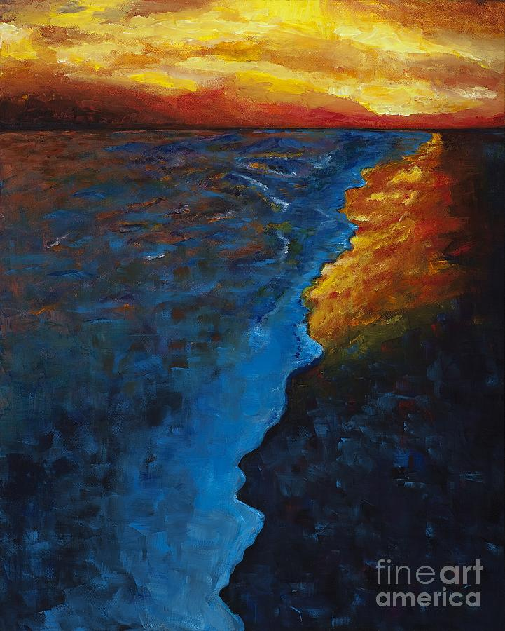 Abstract Ocean Painting - Ocean Sunset by Frances Marino