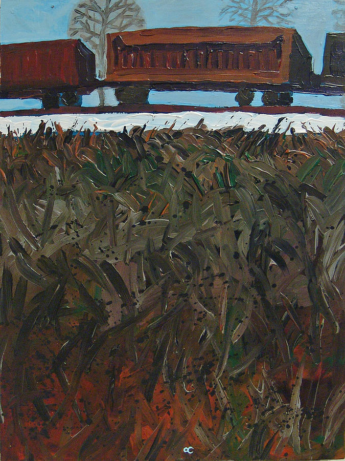 Train Painting - 1 Oclock Train by Chris Cook