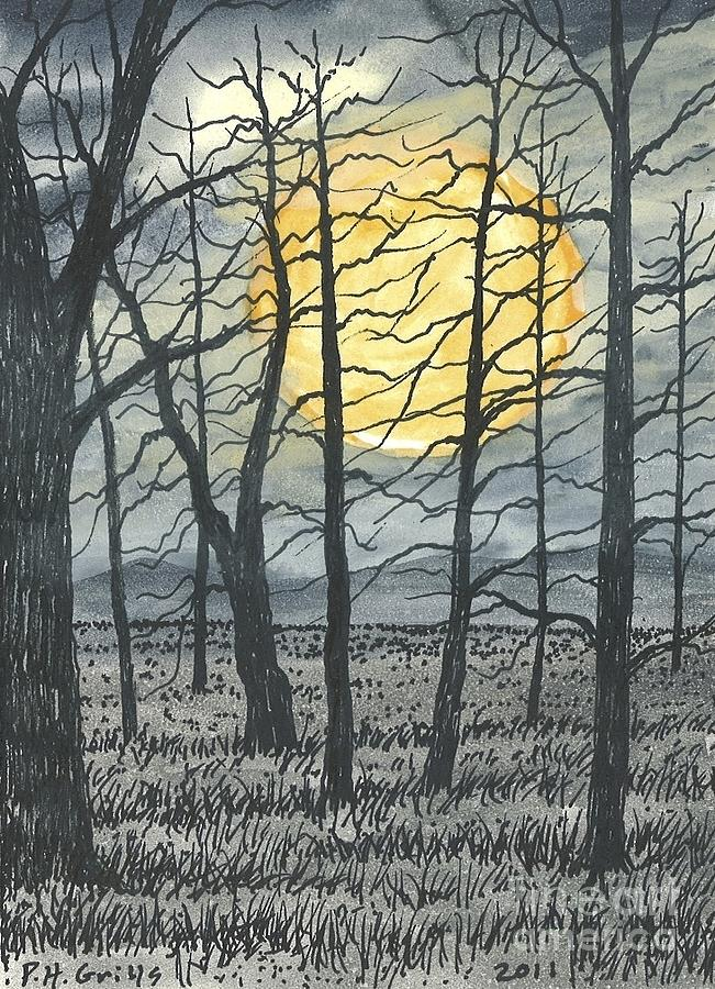 October Painting - October Moon by Patrick Grills