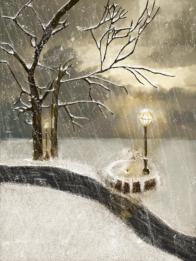 Snow Painting - Oh Let It Snow Let It Snow by Angela A Stanton