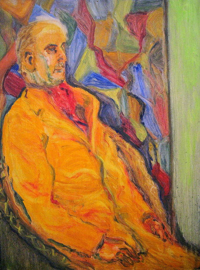 Man Painting - Oil Study - Man Sitting by Lessandra Grimley