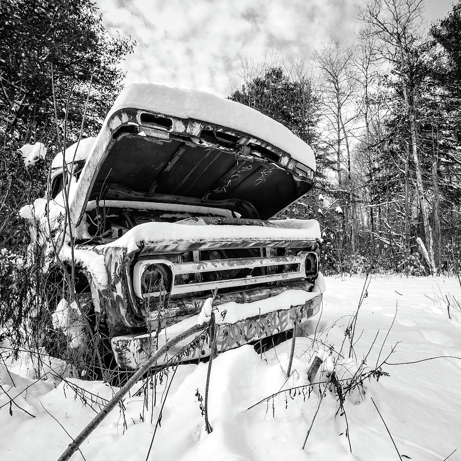 Newport Photograph - Old Abandoned Pickup Truck in the Snow by Edward Fielding