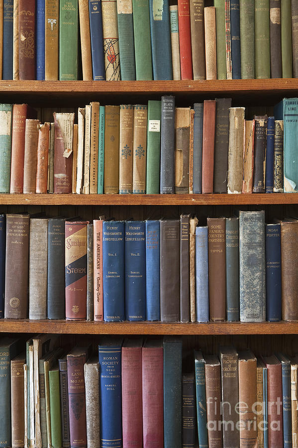 Antique Photograph - Old Books On A Bookshelf by Paul Edmondson