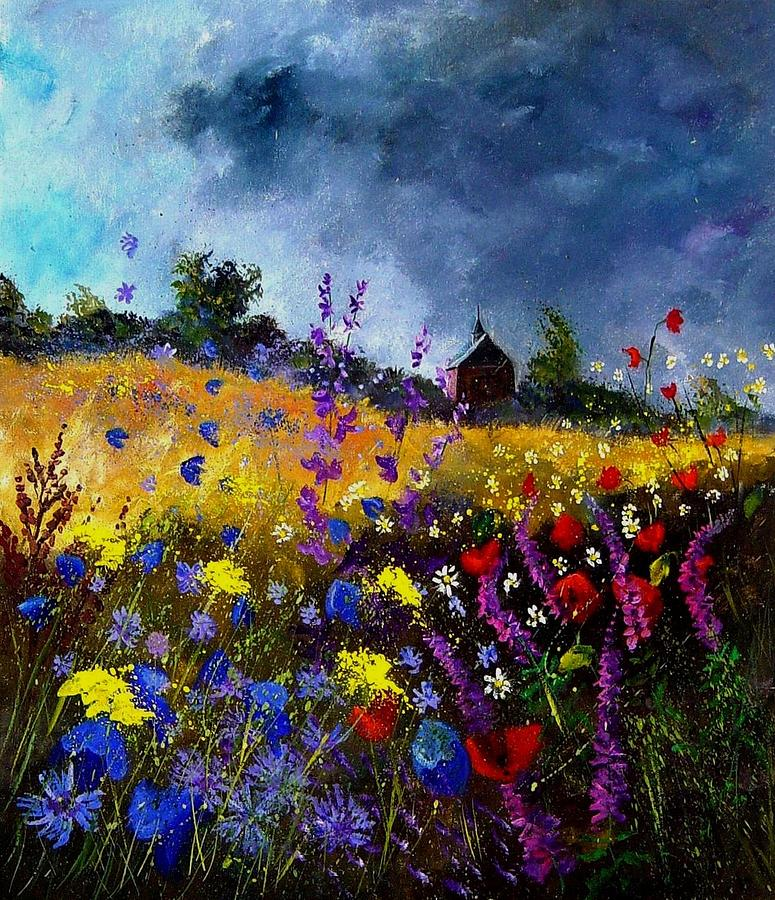 Flowers Painting - Old Chapel And Flowers by Pol Ledent