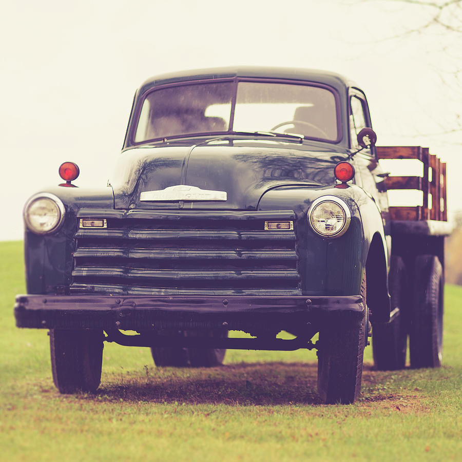 Truck Photograph - Old Chevy Farm Truck In Vermont Square by Edward Fielding