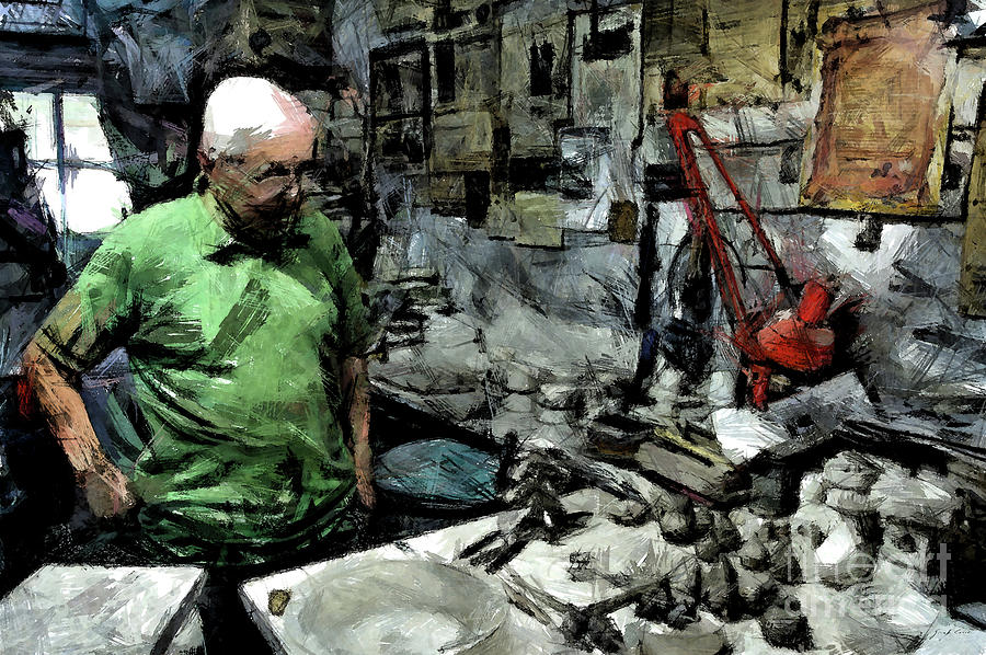 Pencil Digital Art - Old Craftsman Portrait In The Laboratory by Giuseppe Cocco