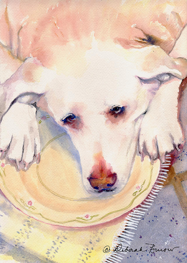 Yellow Lab Painting - Old Dogs Are The Best by Deborah Burow