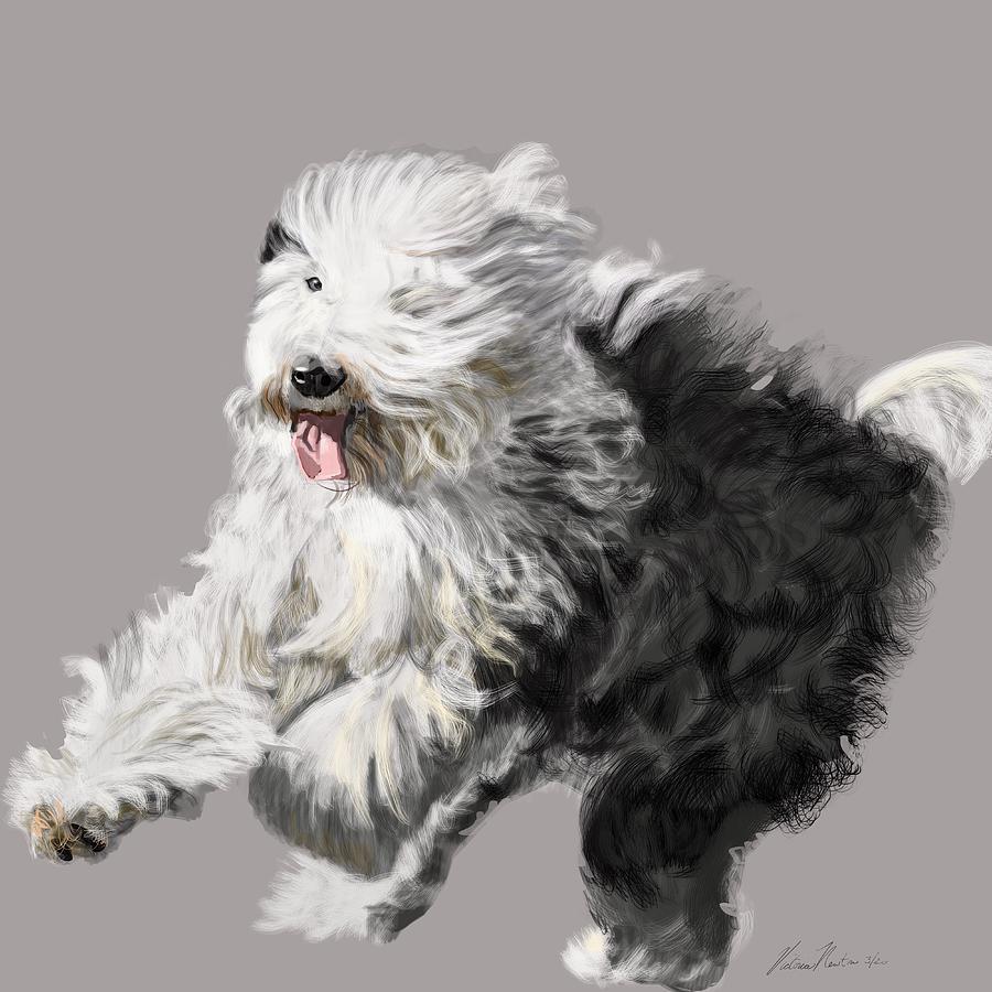 Old English Sheepdog Digital Art - Old English Sheepdog - Coming Through by Victoria Newton