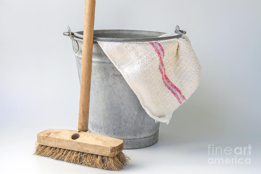 Red Photograph - Old Fashioned Housekeeping With Zinc Bucket by Patricia Hofmeester