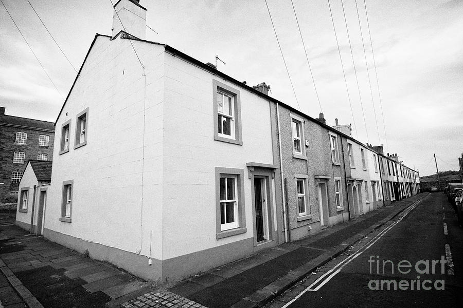 old two up two down traditional mill houses in mill street Whitehaven  Cumbria England UK