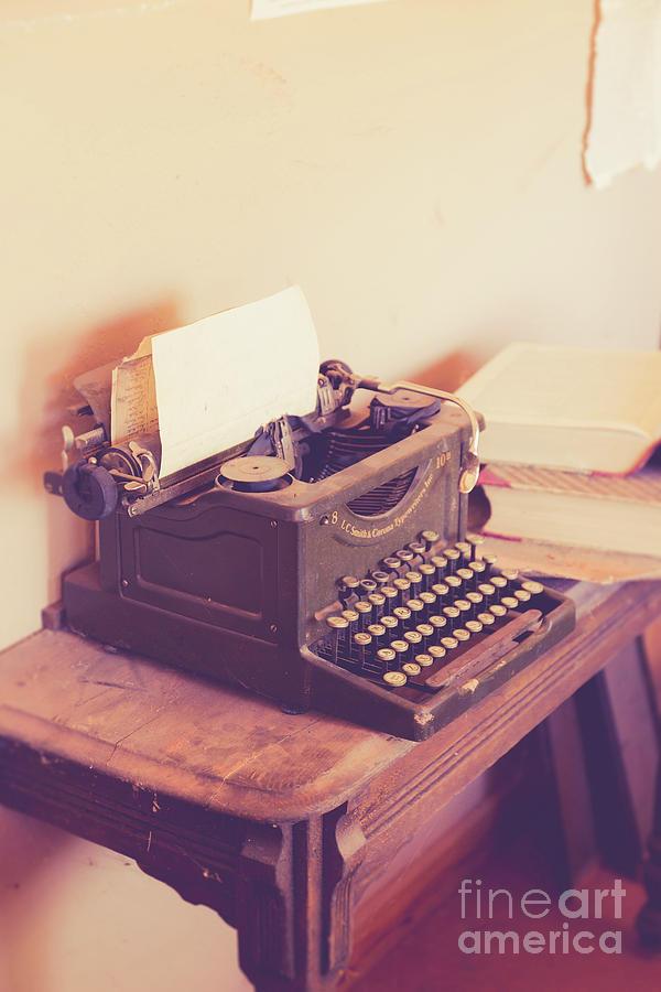 Antique Photograph - Old Vintage Typewriter Kanab Utah by Edward Fielding
