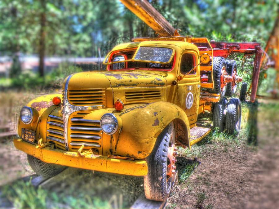 Truck Photograph - Old Yellow Dodge  by Peter Schumacher