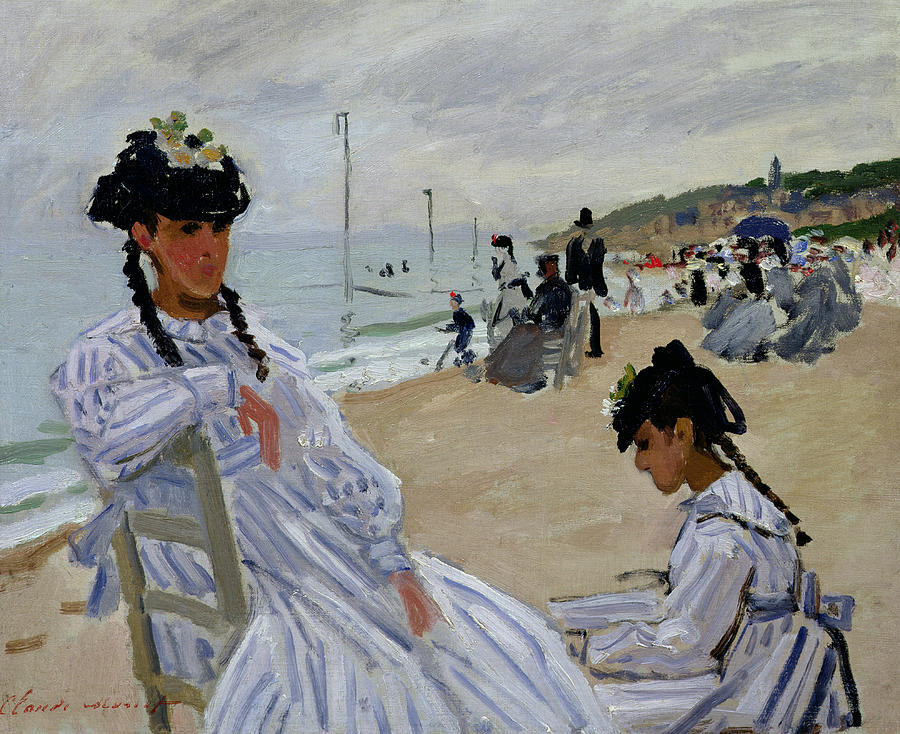 French Painters Painting - On The Beach At Trouville by Claude Monet