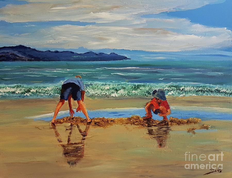 Children Painting - On The Seashore Of Endless Worlds Children Meet  by Eli Gross