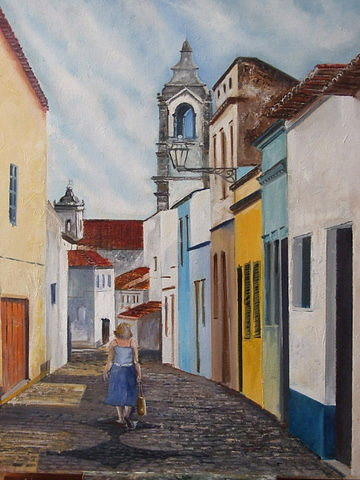 Landscapes Painting - On The Way To Church by Eddy Couto
