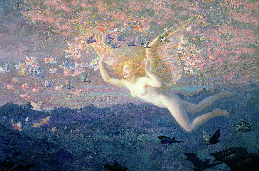 Hughes Painting - On The Wings Of The Morning 1 by Edward Robert Hughes