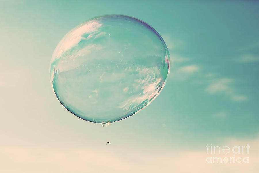 One Clean Soap Bubble Flying In The Air Photograph