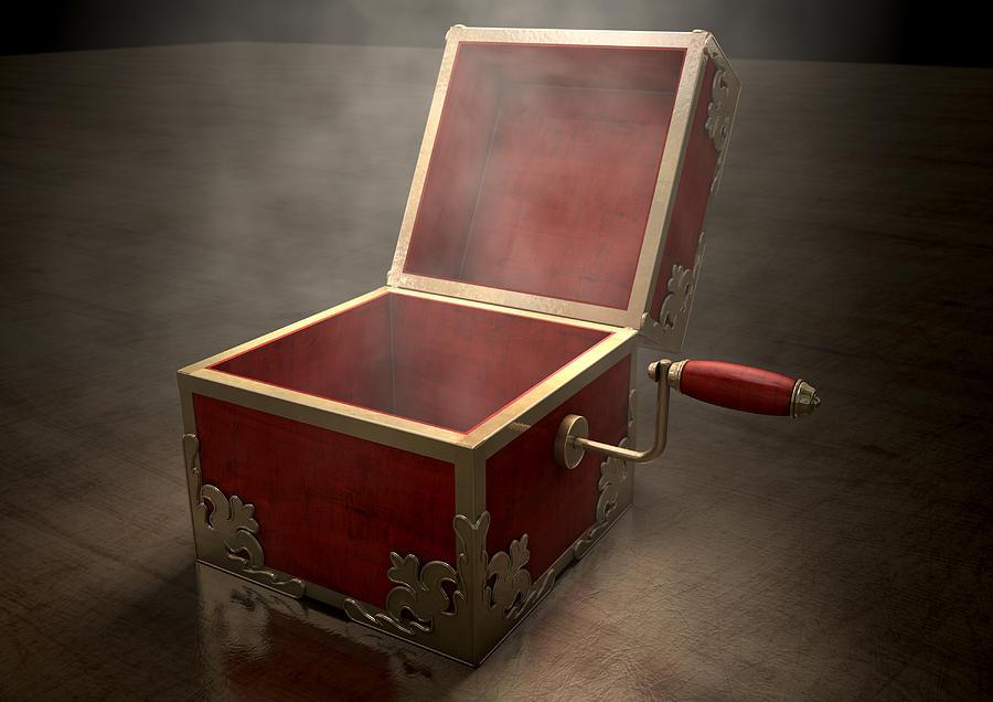Box Digital Art - Open Jack-in-the-box Antique by Allan Swart