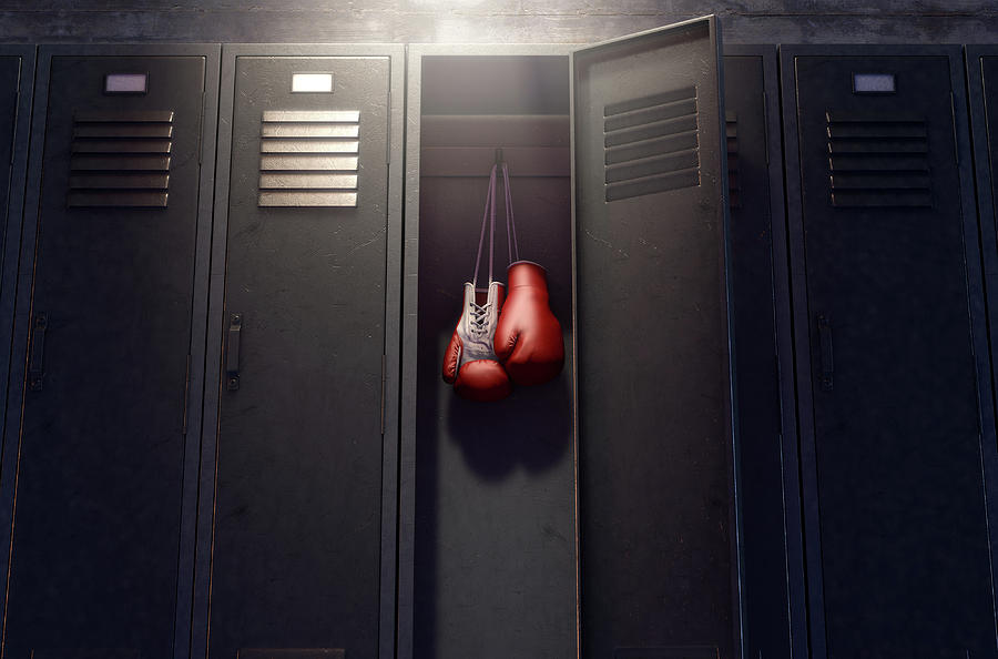 Locker Digital Art - Open Locker And Hung Up Boxing Gloves 1 by Allan Swart
