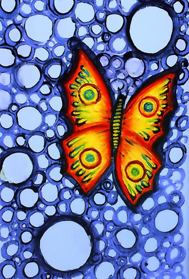 Orange Painting - Orange Butterfly by Brenda Higginson