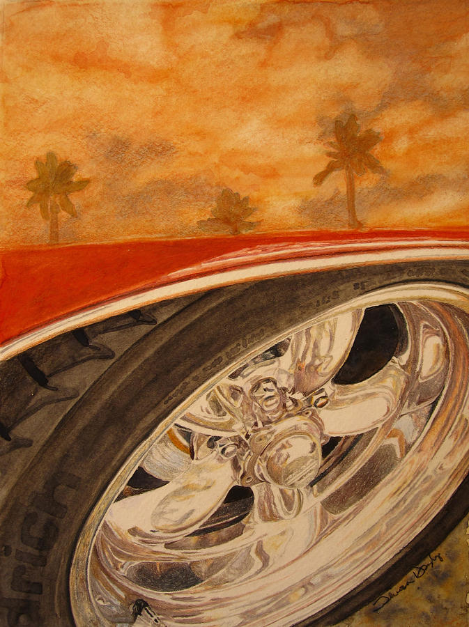 Classic Car Painting - Orange Classic by Theresa Higby