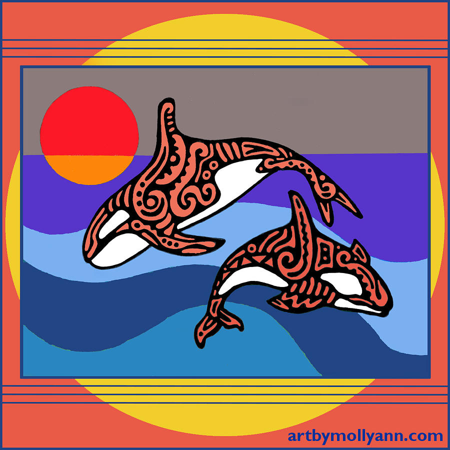Orca Design Drawing - Orca Dance 1 by Molly Williams