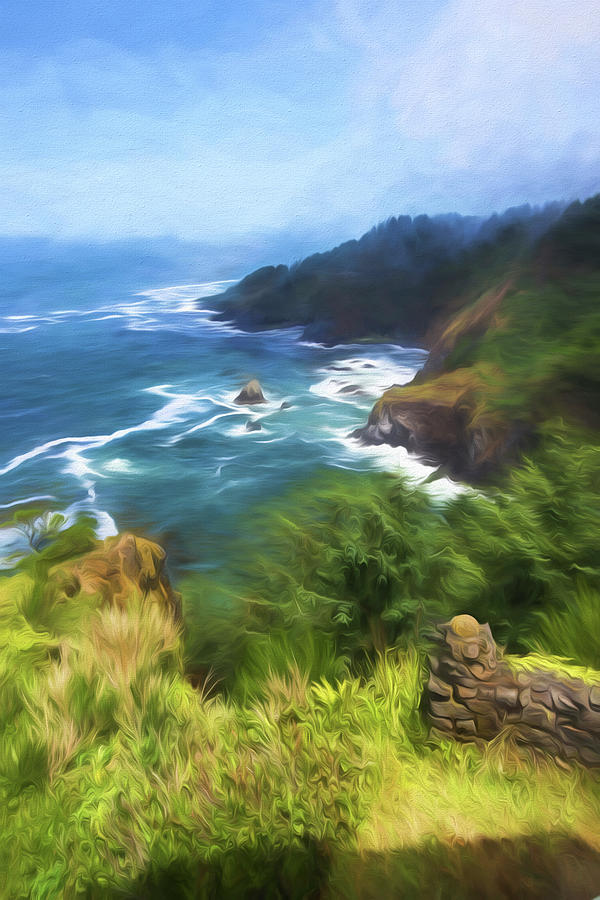 Painterly Painting - Oregon Coast by Bonnie Bruno