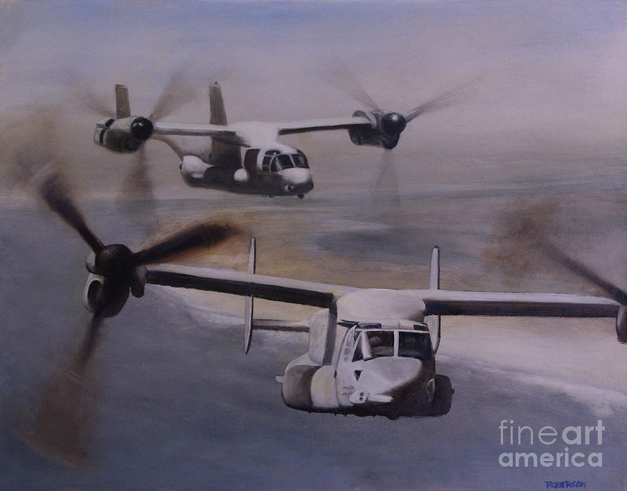 Roberson Painting - Ospreys Over The New River Inlet by Stephen Roberson