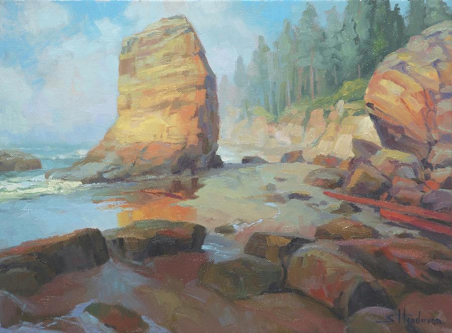 Coast Painting - Otter Rock Beach by Steve Henderson
